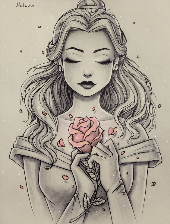 This is Beautiful ! Sketched picture of Disney Princess Belle, with only the rose in color.