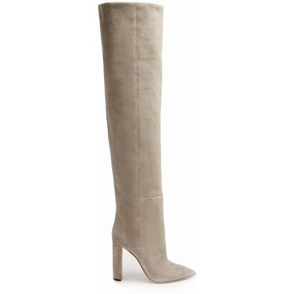 Saint Laurent Tanger over-the-knee suede boots (5,860 AED) ❤ liked on Polyvore featuring shoes, boots, light tan, light gray boots, above-knee boots, over-the-knee boots, light grey over the knee boots and over-knee boots