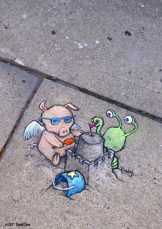 Chalk Street Art – 30 adorable creations by David Zinn #streetart #chalk