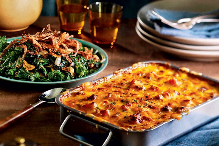 Roasted Butternut Squash and Cheddar Gratin—Roasting the squash before layering it in the gratin enhances its flavour. This step also cuts down on Turkey Day prep—just sprinkle on the topping and pop it into the oven after the turkey comes out.