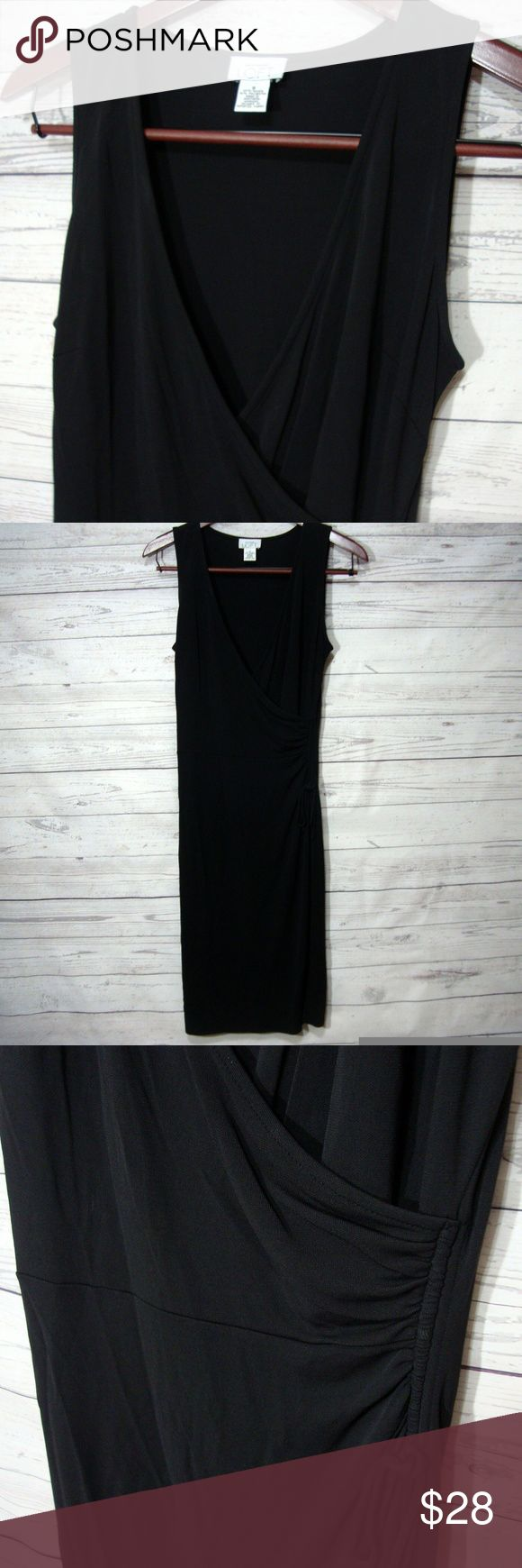 Ann Taylor Loft Faux Wrap Dress 8 Sleeveless Work From Ann Taylor Loft  Size 8  Laying flat it measures: underarm to underarm - 18 inches across from back of neck to bottom - 42 inches  Color: black  Gently used  Slinky rayon - travel friendly  From a smoke free and pet friendly home LOFT Dresses Midi