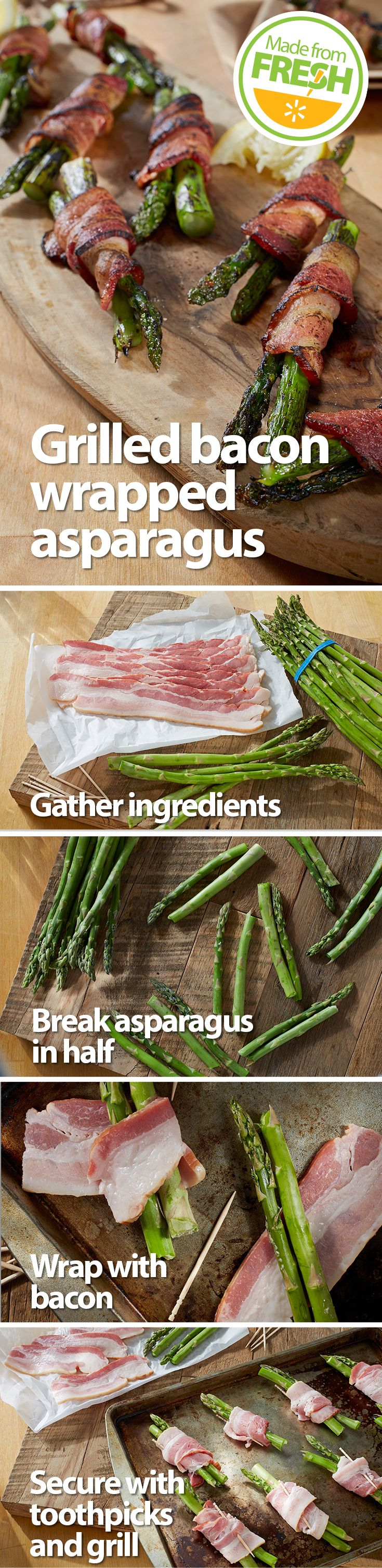 Make an impression at your next cook- out. This tender fresh asparagus wrapped in crispy bacon will have your guests coming back for more. Find these fresh ingredients at your local Walmart.