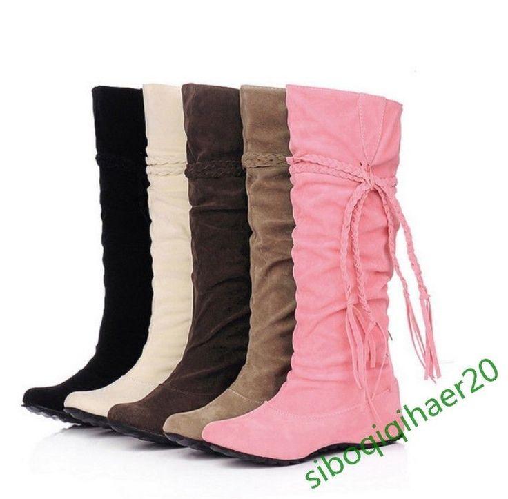 Fashion Women's Mid-Calf Boots Lace Up Hidden Heel Retro Bohemia Shoes Size