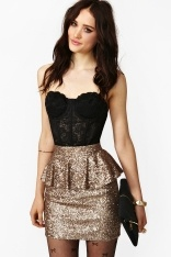 black corset gold sequin skirt