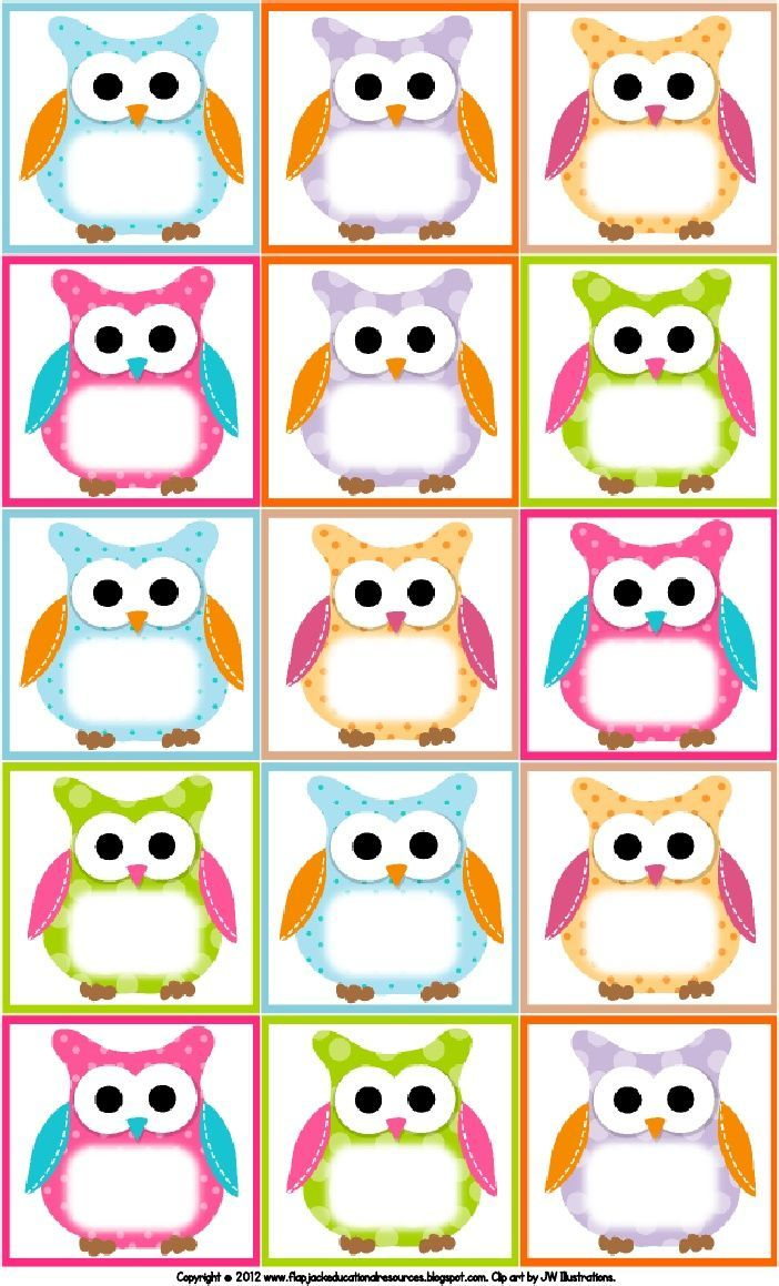 Free Owl Printables | Free Printable Owl Labels | Owl Theme Classroom