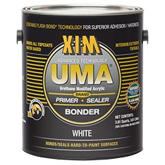 UMA's advanced technology has both primer and adhesive-like properties.  A quick drying, white bonding primer / sealer that provides excellent adhesion. Can be tinted. for tough-to-paint surfaces: glass, tile, Formica, metals, many plastics, wood and other construction materials including Kynar® and silicone polyester pre-coated siding.