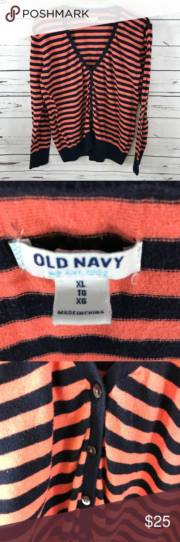 Old Navy XL button front cardigan orange & navy Old Navy XL button front cardigan orange & navy  Orange is a salmon-coral shade of orange.... Very pretty! Old Navy Sweaters Cardigans