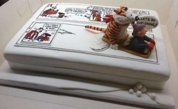 Calvin and Hobbes retirement cake - based on the last comic strip.