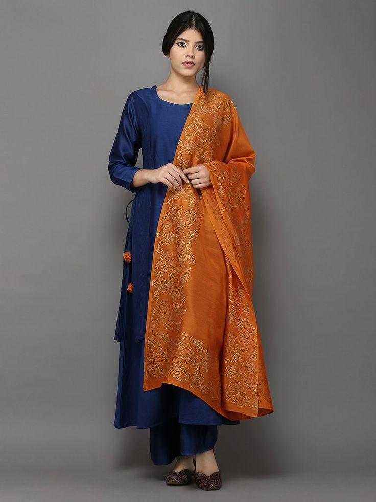 Blue Orange Chanderi Cotton Suit - Set of 4
