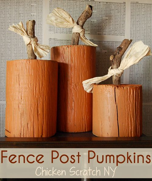 Fence Post Pumpkins- Turn an old round fence post into a trio of adorable #pumpkins with 2 personalities.  Carved faces on one side are all set for #Halloween and the blank side will carry your from September 1st to #Thanksgiving.