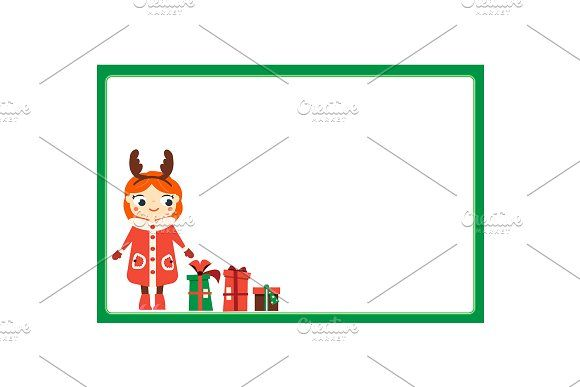 New year Christmas frame with kid by Bunny's Little Shop on @creativemarket