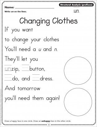 Changing Clothes (Structural Analysis/Prefixes - un): Phonics Poetry Page