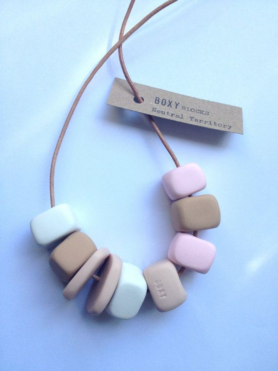 Doesn't this look like Astronaut ice-cream? I want one!  NEUTRAL TERRITORY Boxy Square Bead Necklace  Tan by BoxyJewellery, $35.00