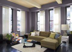 Benjamin Moore Paint Colors - Purple Living Room Ideas - Elegant, Urban Purple Living Room - Paint Color Schemes . . . . . Showcase a modern design style with a generous splash of purple. . . . . . Walls - Tempest (AF-590); Ceiling - Subtle (AF-310); Ceiling Beams - Handmade (AF-325).