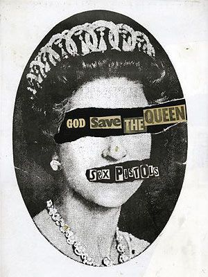 The art of #punk: Jamie Reid's cover art for the Sex Pistols 'God Save The Queen' #punkinspired