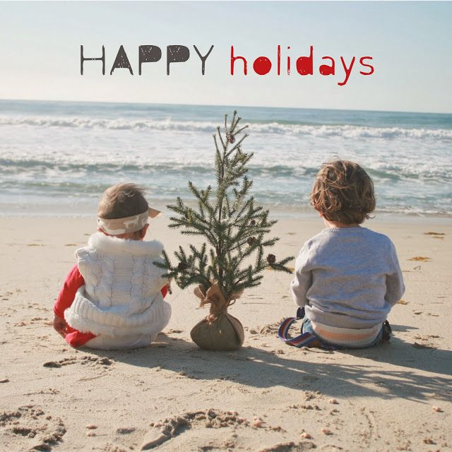 beach + christmas tree + kiddos = happy holidays