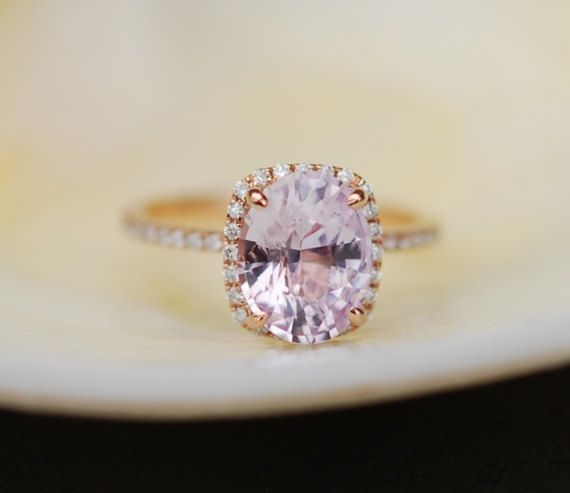 2.87ct Engagement ring. Cushion ice peach champagne sapphire