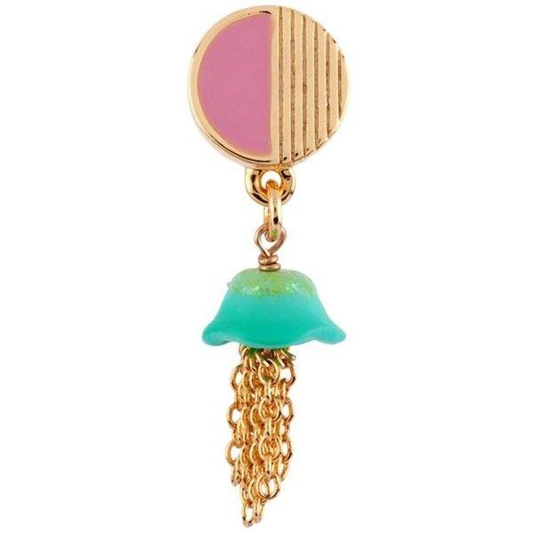 I Am A Mermaid Little Jellyfish Single Earring ($39) ❤ liked on Polyvore featuring jewelry, earrings, blue, fancy earrings, les nereides earrings, beaded earrings, 14k jewelry and chain jewelry