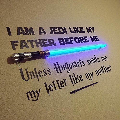 "Fandom mash-ups seriously crack me up. This Star Wars Wall Art has the perfect splash of Harry Potter added to it. Of course they made it epic with adding in a light saber and wand. ""I Am A Jedi Like My Father Before Me, Unless Hogwarts Sends Me A Letter Like My Mother"" is the statement of …"