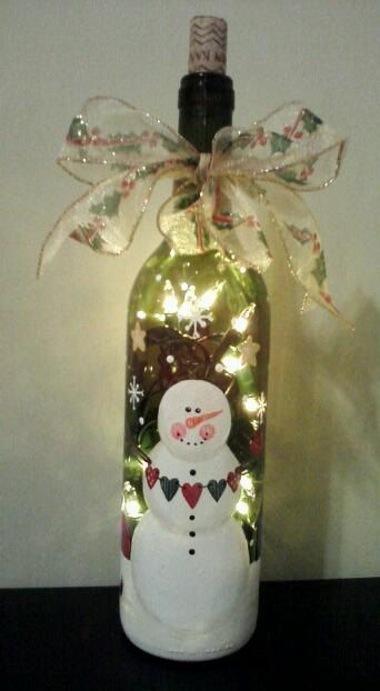 Hand Painted Christmas Winter Lighted Snowman Wine Bottle Lamp