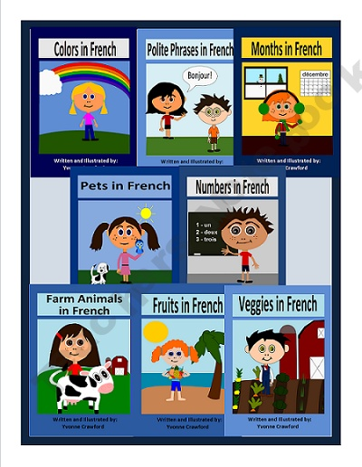 This is a bundle of 8 French booklets to help your students learn French. Each booklet includes vocabulary sheets with pronunciation, worksheets and games.