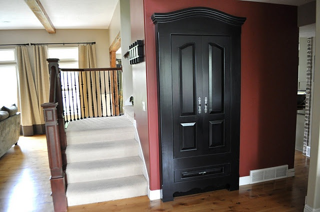 transformation of a closet door and I am going to def. steal this idea!: Hall Closet, Decor Ideas, Closet Doors, Faux Armoires, Entry Closet, Hallways Closet, Cool Ideas, Closet Space, Coats Closet