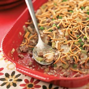 Chinese Beef Casserole Recipe -Crispy chow mein noodles top this twist on chop suey that's sure to be a family favorite. Willie DeWaard - Coralville, IA