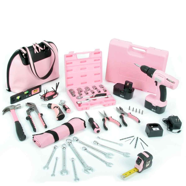 "Little Pink® Tool Kit  Case 15"" x 10"" x 5.5""  Hammer, 7 oz. claw  Hex fold-up 5/64"" - 1/4""  Level, 9"" with magnet & pop-out line level  Plier, 10"" pump style  Plier, 6"" slip joint with spring  Plier, 6"" long nose with side cut & spring  Screwdriver, 6 in 1  Screwdriver, offset ratchet with 8 bits  Tape measure 25' with fractional legend  Wrench, 6"" adjustable with engraved jaw  Little Pink® Socket Set  Ratchet Handle 8""  3"" Ext   6"" Ext  9 Sockets 1/4""-3/4""    Pink Plastic Box  Little Pink®…"