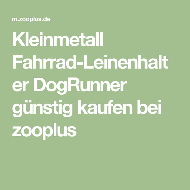 Kleinmetall Fahrrad-Leinenhalter DogRunner günstig kaufen bei zooplus