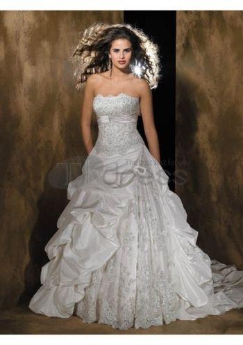 Abiti da Sposa Senza Spalline-Spiaggia abiti da sposa senza spalline di lusso alla moda