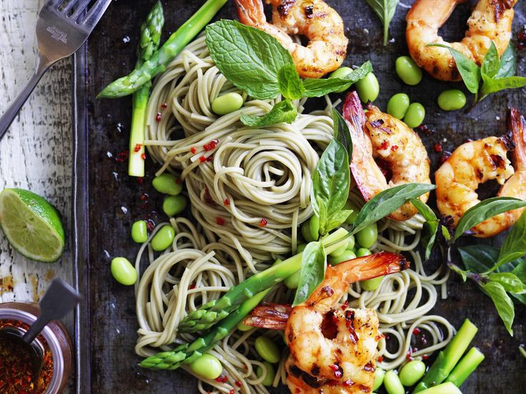 Thai prawns with soba noodles and asparagus, prawn recipe, brought to you by Australian Women's Weekly