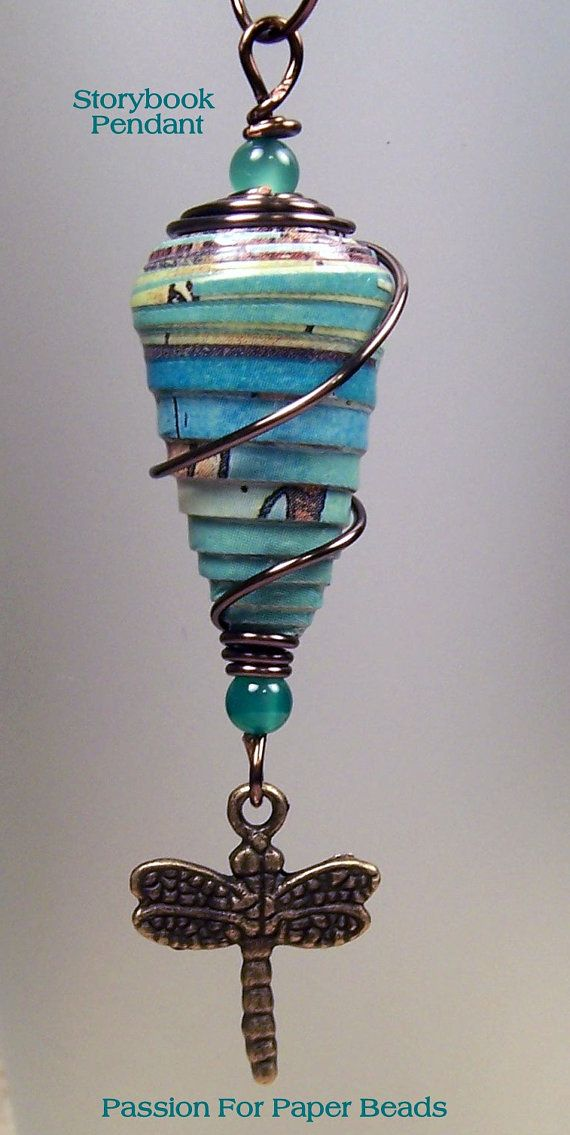 Storybook Paper Bead Large Dragonfly by PassionForPaperBeads