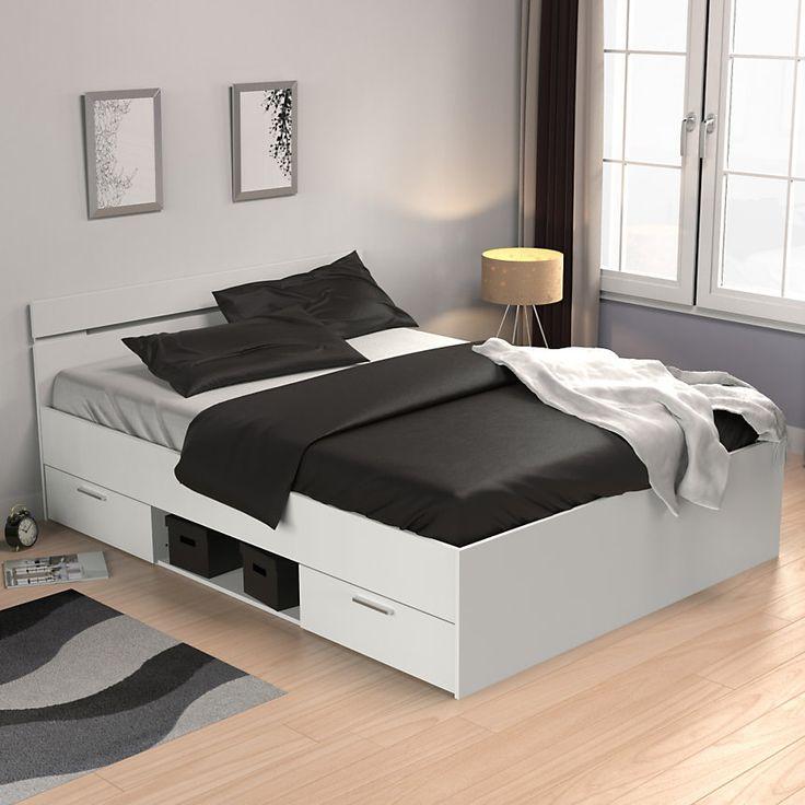 les 25 meilleures id es de la cat gorie lit 140x190 avec rangement sur pinterest lits doubles. Black Bedroom Furniture Sets. Home Design Ideas