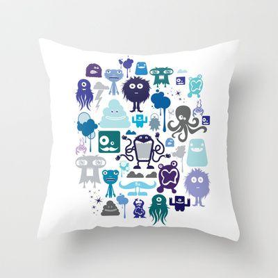 Monstropilos: Cool Throw Pillow by CreativeNeesh - $20.00