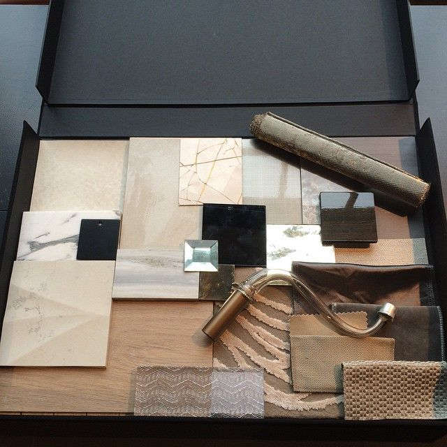 Materials presentation ready for our pitch this afternoon for a multi unit development. Wish us luck! #presentation #pitch #designprocess #samples #interiordesign #interiorarchitecture