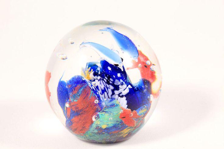 Murano Art Glass Aquarium Blown Round Fish Tank Paperweight with Dolphins Estate