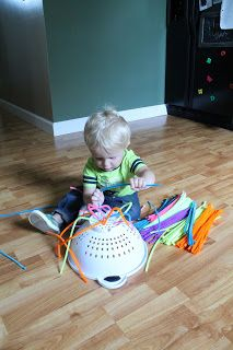 Pipecleaners a colander; good for toddlers and doesn't destroy my house