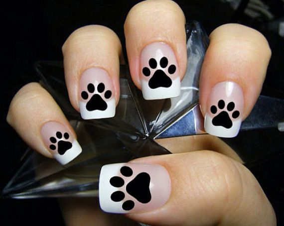 Paw Print Inspired Vinyl Nail Decals Set of by RedWithEnvyDesigns, $5.00