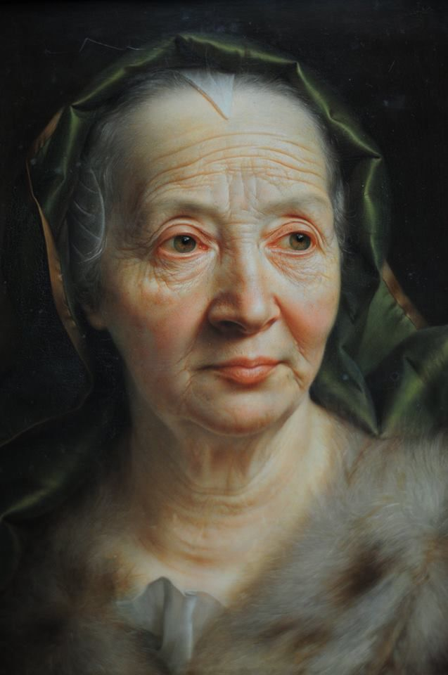 Christian Seybold (German painter) 1695 - 1768 Portrait einer alten Frau (Portrait of an Old Woman with a Green Scarf), 1768 oil on copper 41.5 X 32.5 cm. Gemäldegalerie Alte Meister, Dresden, Germany: