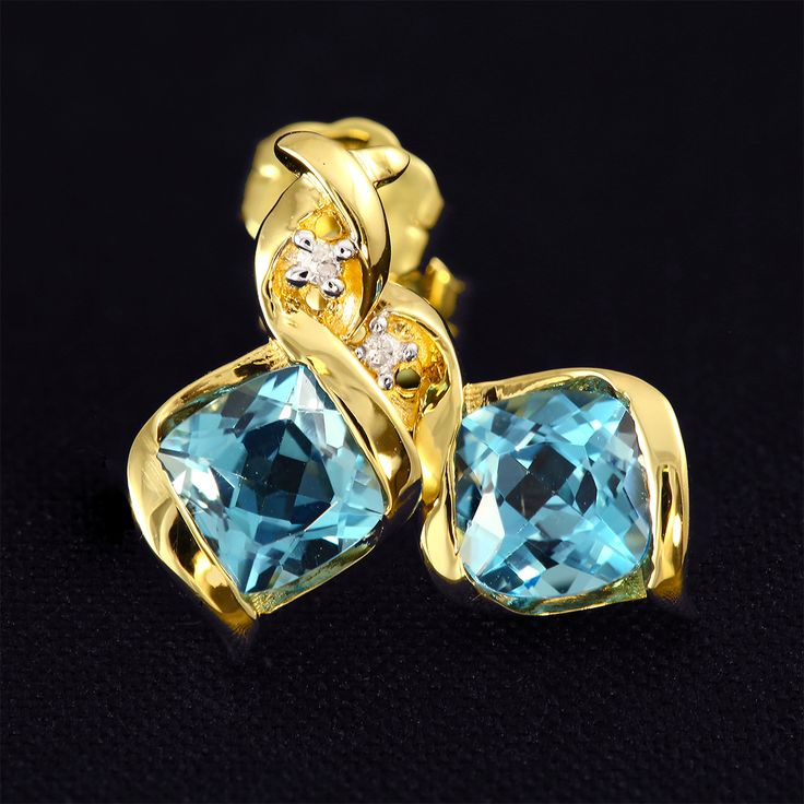 9ct Yellow Gold Bezel Set Blue Topaz & Diamond Swirl Earrings - Purejewels.com.au $148