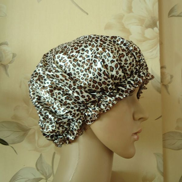 Hot Sale Shower Cap Waterproof Shower Caps Women Environmental Protection Leopard Elastic Band Hat Bath Cap