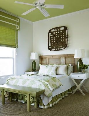 cute painted ceilingDoors Headboards, Ideas, Romans Shades, Guest Bedrooms, Green, Old Doors, Eclectic Bedrooms, Painting Ceilings, White Wall