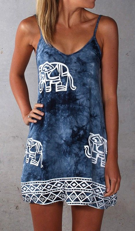 Elephant-Print Tie Dye Dress