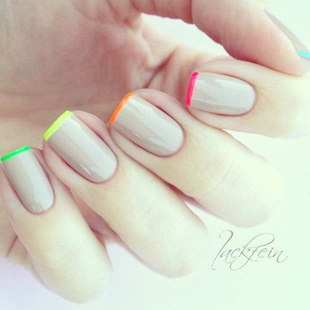 Neon Colored French Tips for Spring and Summer