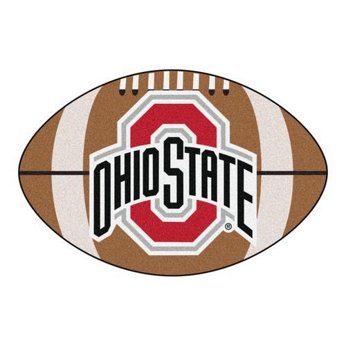 Ohio State Buckeyes Football Shaped Area Rug Floor Mat