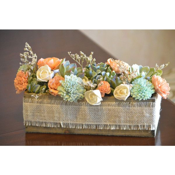 Live Succulent And Sola Flower Centerpiece Or Gift Coral Peach Mint 55