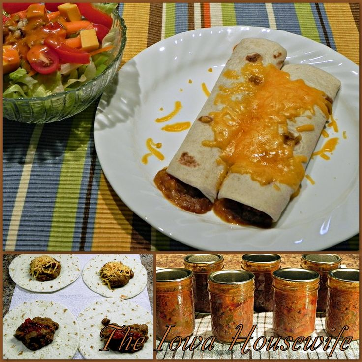 Here's one or our favorite ways to serve home-canned or frozen hamburger mix…beef and bean burritos.  I keep tortillas in the freezer all...