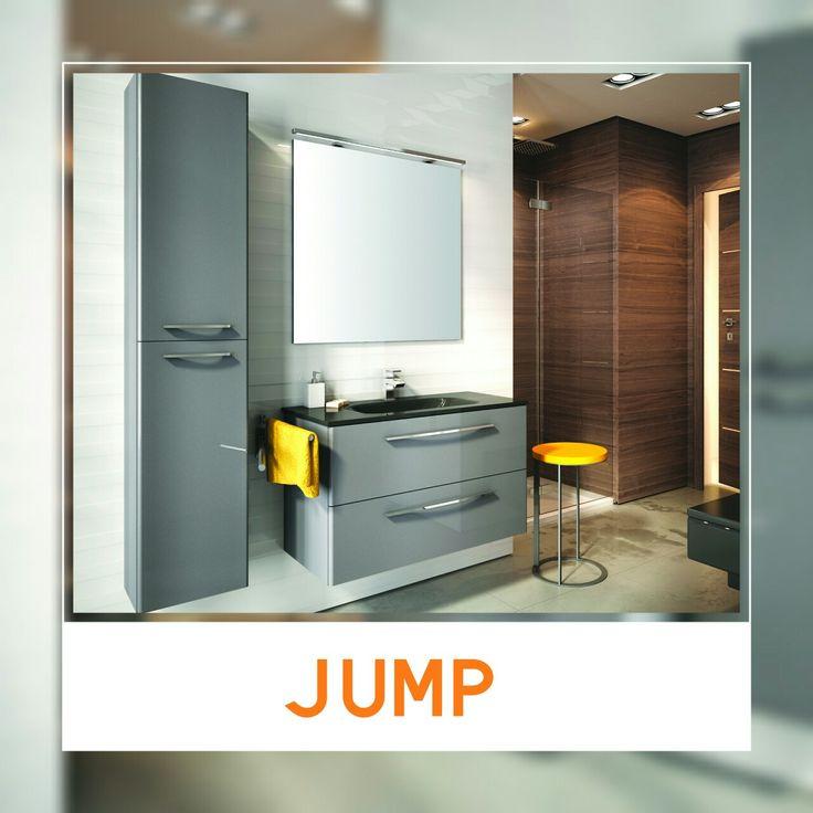 JUMP - silver metalic. #elita #meble #lazienka #jump #bathroom #furniture #colorful #washbasin