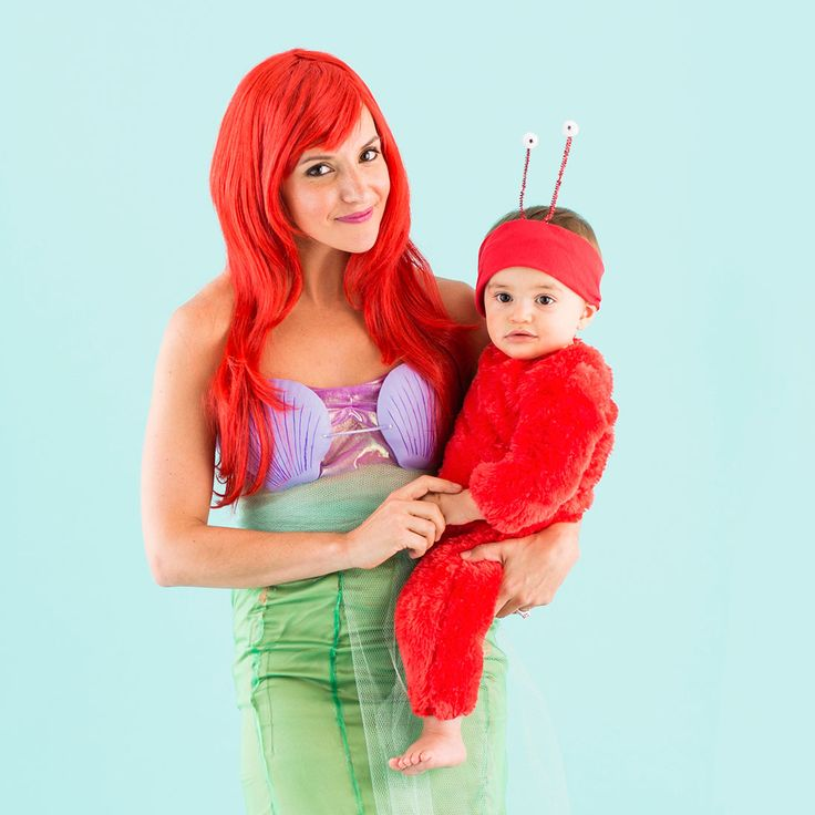 Dress up as Ariel + Sebastian from The Little Mermaid on Halloween.