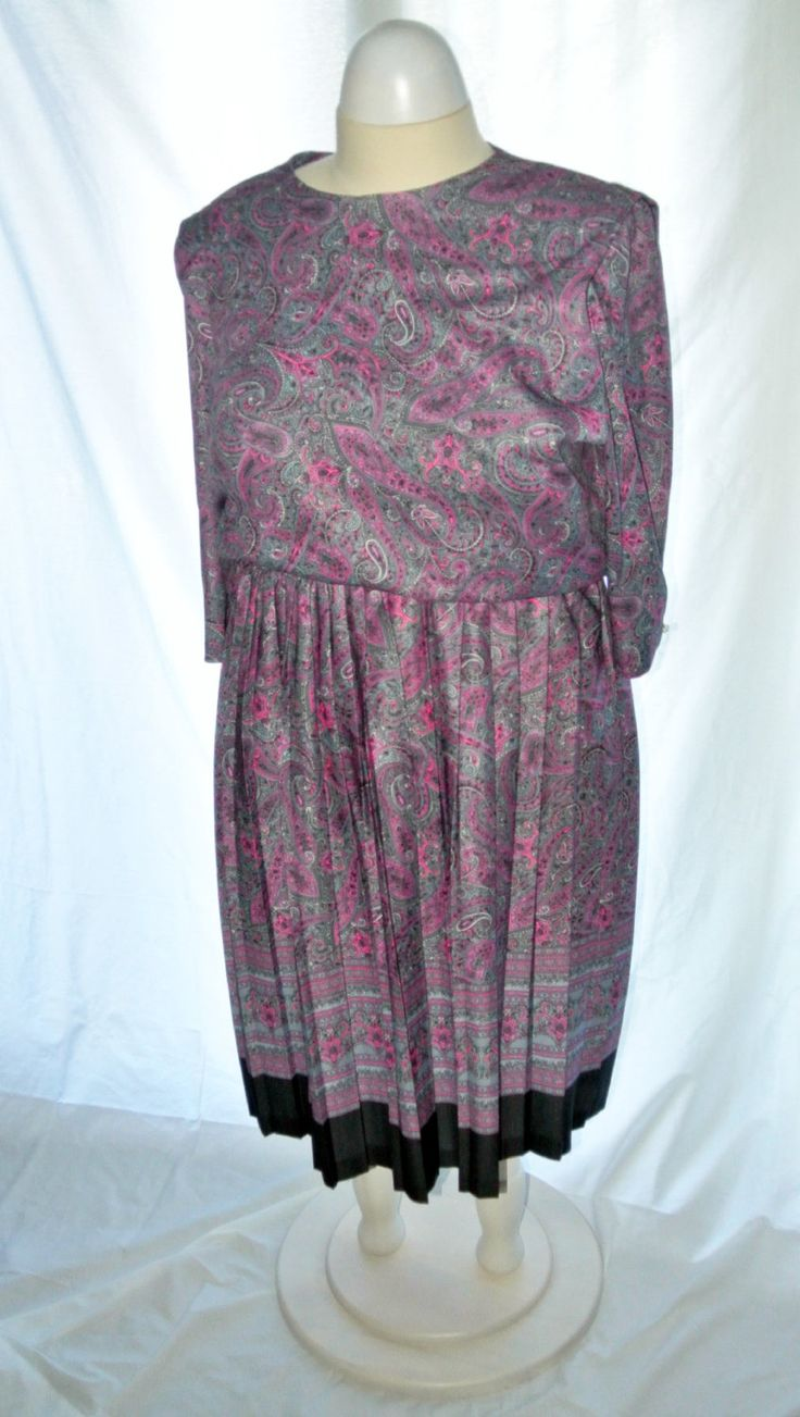 90s Pink Paisley Dress / Plus Size / Vintage Paisley Dress by IfIWereJaneVintage on Etsy
